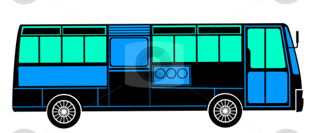Bus stock photo, Drawing of bus in a white background by Su Li