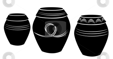 Pottery stock photo, Drawing of pottery in a white background by Su Li