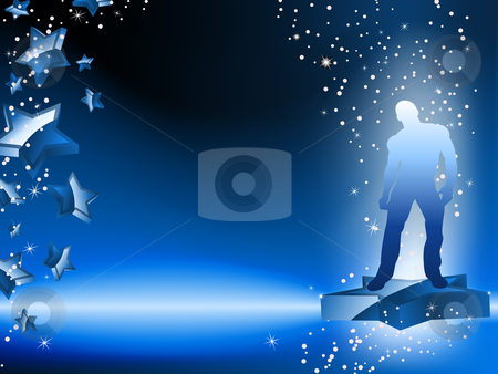 Boy Dancing on Star Blue Flyer stock vector clipart, Boy Dancing on Star Blue Flyer. Editable Vector Image by AUGUSTO CABRAL