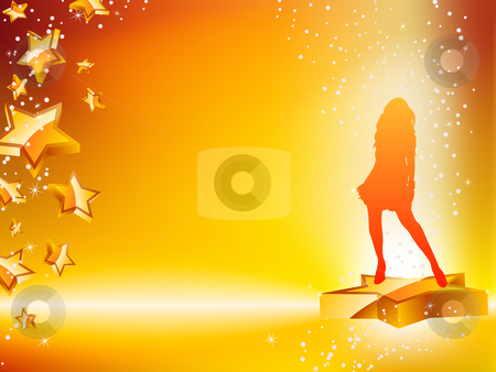 Girl Dancing on Star Yellow Flyer. stock vector clipart, Girl Dancing on Star Yellow Flyer. Editable Vector Image by Augusto Cabral Graphiste Rennes