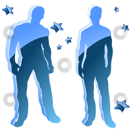 Sexy boy blue glossy silhouettes with stars.  stock vector clipart, Sexy boy blue glossy silhouettes with stars. Editable Vector Image by AUGUSTO CABRAL