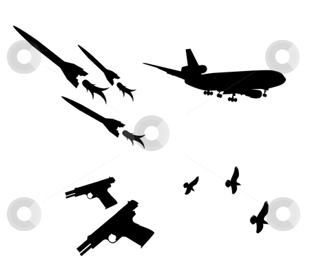 Airplane,gun and pigeon stock photo, Drawing of black airplane,gun and pigeon by Su Li