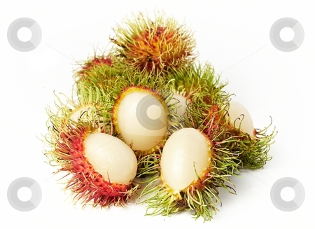 Exotic Thai fruit Rambutan or Ngo stock photo, Exotic Thai fruit Rambutan or Ngo isolated on white by Oleg Blazhyievskyi