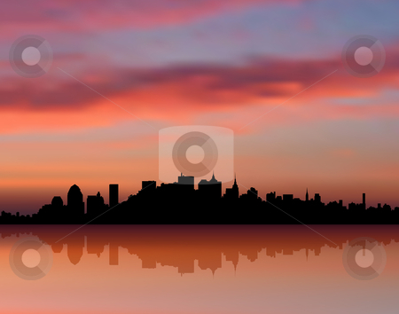 new york city skyline at sunset. New York city Skyline sunset