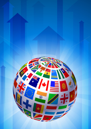 Print stock vector clipart, Flags Globe on Blue Arrow Background Original Vector Illustration by L Belomlinsky