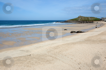 Porthmeor sandy beach in St. Ives, Cornwall UK. stock photo, Porthmeor sandy beach in St. Ives, Cornwall UK. by Stephen Rees