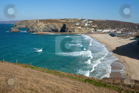 Scenic view from above Portreath beach in Cornwall UK. stock photo, Scenic view from above Portreath beach in Cornwall UK. by Stephen Rees