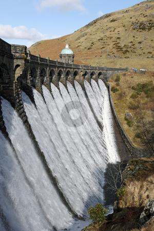 Craig Goch dam overflowing with water, Elan Valley Wales. stock photo, Craig Goch dam overflowing with water, Elan Valley Wales. by Stephen Rees