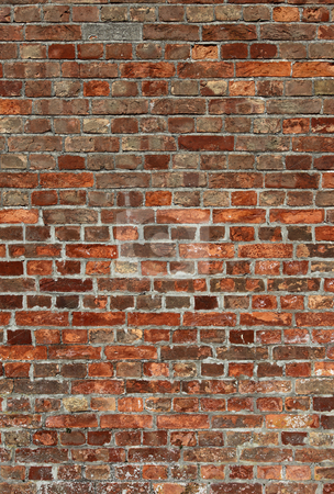 Dirty old red brick wall close up. stock photo, Dirty old red brick wall close up. by Stephen Rees