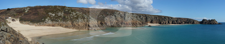 Panoramic view from Porthcurno beach to Logan rock. stock photo, Panoramic view from Porthcurno beach to Logan rock. by Stephen Rees