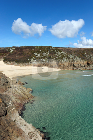 Porthcurno beach and turquoise sea, Cornwall UK. stock photo, Porthcurno beach and turquoise sea, Cornwall UK. by Stephen Rees