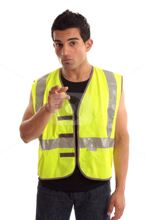 Construction worker pointing his finger stock photo a construction