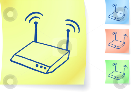 Router graphic on sticky note stock vector clipart, Router graphic on sticky note original vector illustration Post it note sketches  Three color version included by L Belomlinsky