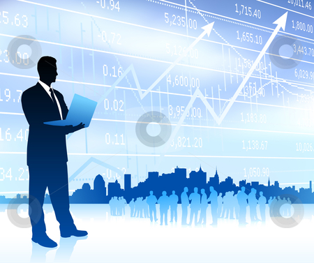 Businessman with graph and Skyline stock vector clipart, Businessman with graph and Skyline Original Vector Illustration Businessmen Concept by L Belomlinsky