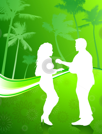 Sexy young couple dancing on palm trees summer background stock vector clipart, Original Vector Illustration: Sexy young couple dancing on palm trees summer background AI8 compatible by L Belomlinsky