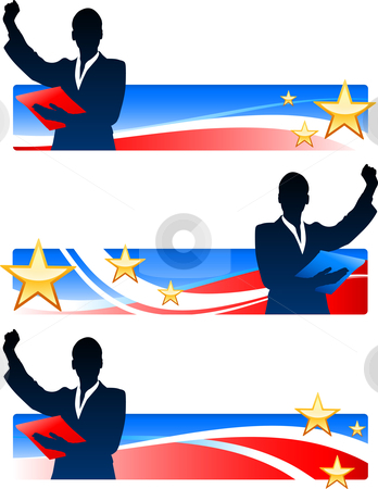 Executive Businesswomen with Patriotic Banners stock vector clipart, Executive Businesswomen with Patriotic Banners Original Vector Illustration by L Belomlinsky