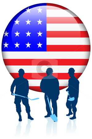 Construction Workers with American Internet Button stock vector clipart, Construction Workers with American Internet Button Original Vector Illustration by L Belomlinsky