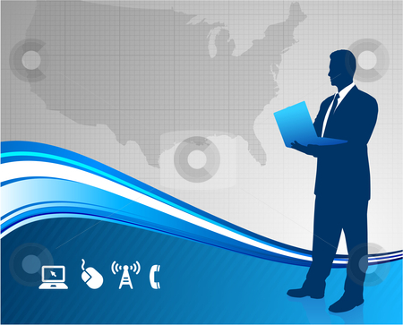 Businessman holdin laptop with United States background stock vector clipart, Businessman holdin laptop with United States background Original Vector Illustration Businessmen Concept by L Belomlinsky