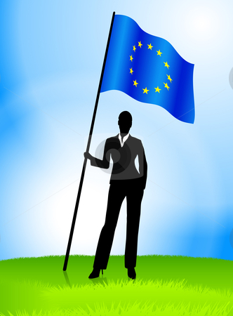 Businesswoman Leader Holding European Union Flag stock vector clipart, Businesswoman Leader Holding European Union Flag Original Vector Illustration AI8 Compatible by L Belomlinsky