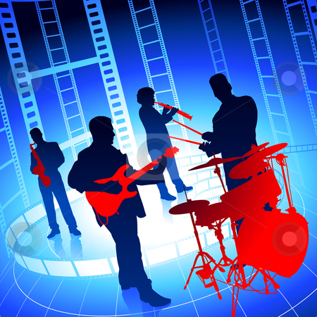 Live Music Band on Film Reel Background stock vector clipart, Live Music Band on Film Reel Background Original Vector Illustration by L Belomlinsky