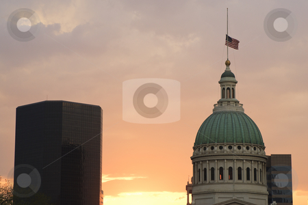 state of missouri flag. An American flag is flying at