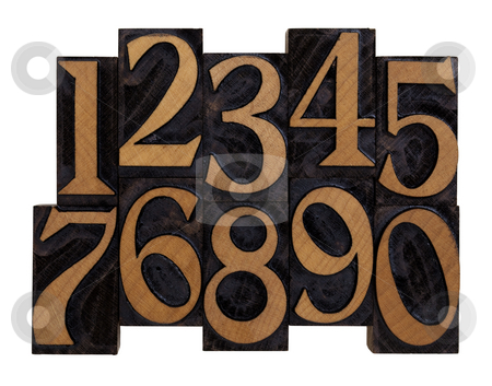 Numbers in vintage wood letterpress types stock photo, Ten arabic numerals 0-9 in vintage wood letterpress blocks stained by black ink, flipped horizontally, isolated on white with clipping path by Marek Uliasz