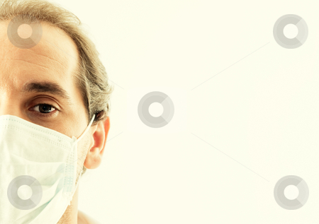 Doctor closeup with  medical mask stock photo, Doctor closeup with flu mask by Daniel Garcia Mata