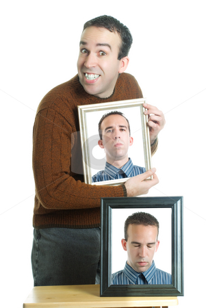 Emotions stock photo, A young man with photos of himself showing different emotions, isolated against a white background by Richard Nelson