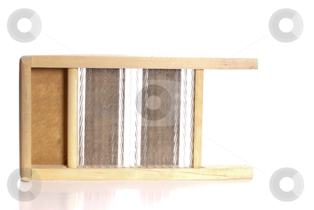 Glass Washboard stock photo, An old washboard made of glass and wood, isolated against a white background by Richard Nelson