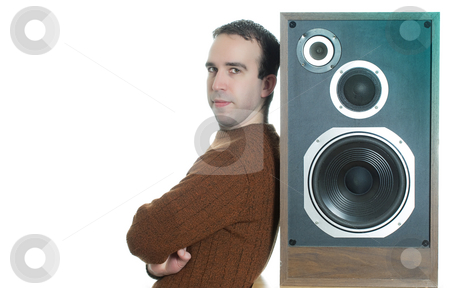Music stock photo, Horizontal image of a man leaning against a large speaker, isolated against a white background by Richard Nelson