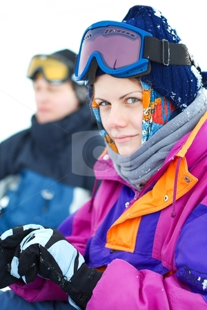 Skier stock photo, Portrait of a female skier by P?
