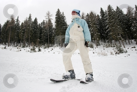Skier stock photo, Skier with snowblades standing on the slope by P?