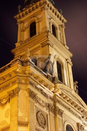 Church stock photo, Detail of a church tower in the night by P?