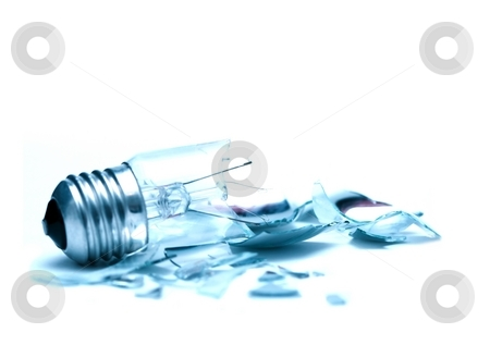 Lightbulb stock photo, Broken lightbulb on white background by P?