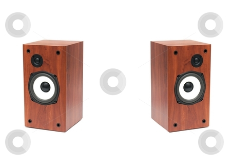 Speakers stock photo, A pair of speakers isolated on white by P?