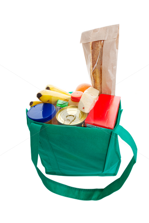 Green grocery bag stock photo, Eco friendly green cloth grocery bag full of food by Steve Mcsweeny
