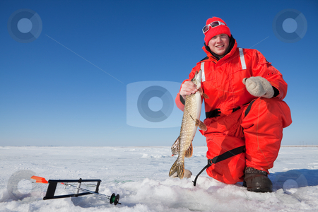 Fishermans catch stock photo, Happy ice fisherman holding a northern pike caught on a tip up by Steve Mcsweeny