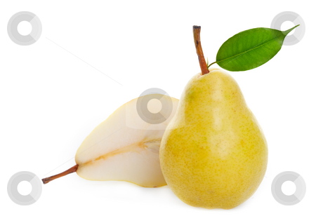 Juicy golden pear stock photo, A juicy ripe golden pear studio isolated with soft shadows by Steve Mcsweeny