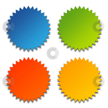 Glossy rosettes stock photo, Set of four glossy rosettes with copy space, isolated on white background. by Martin Crowdy