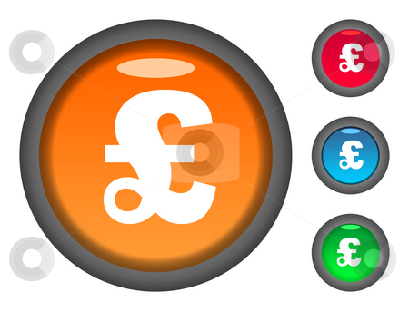 English pound currency button icons stock photo, Set of colorful circular English Pound Sterling currency button icons, isolated on white background. by Martin Crowdy