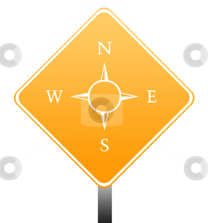 Compass road sign stock photo, Directional compass road sign isolated on white background with copy space. by Martin Crowdy