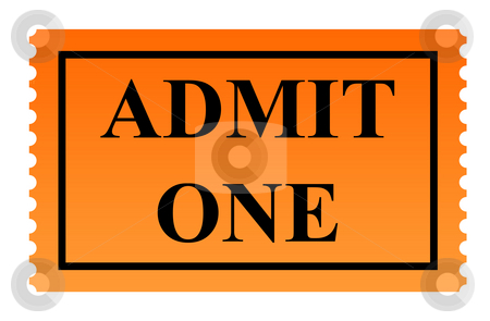 Admit one ticket stock photo, Admit one serrated ticket isolated on white background. by Martin Crowdy