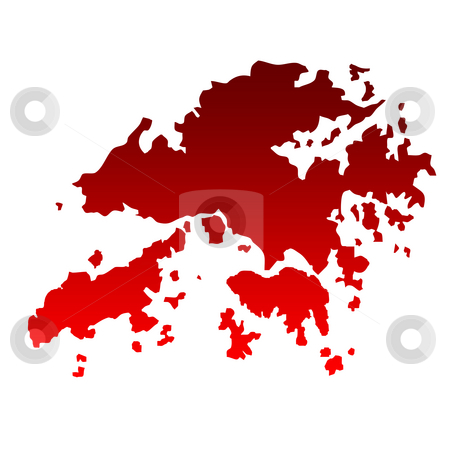 Hong Kong islands stock photo, Map of Hong Kong islands in gradient red isolated on white background. by Martin Crowdy