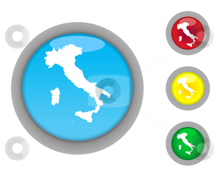 Italy map button icons stock photo, Set of four colorful glossy Italy map button icons with light effect isolated on white background. by Martin Crowdy