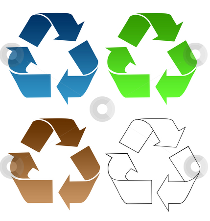 Recycling symbols stock photo, Set of recycling symbols isolated on white background. by Martin Crowdy
