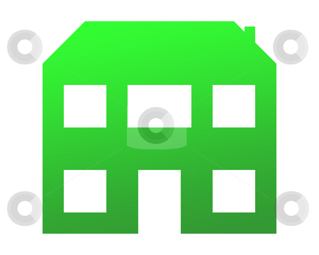 Green eco home stock photo, Greem eco home isolated on white background. by Martin Crowdy