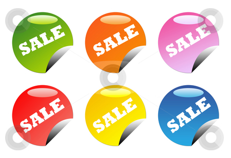 Glossy sale buttons stock photo, Set of six glossy, circular web sale button icons, isolated on white background with copy space. by Martin Crowdy