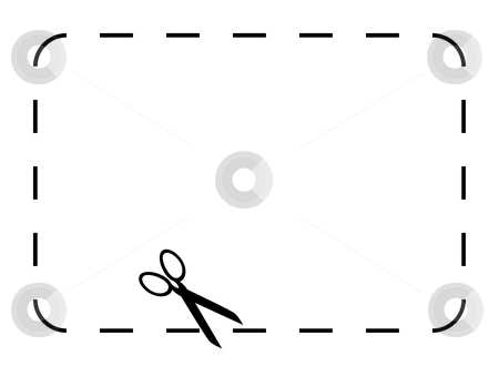 Blank coupon or voucher stock photo, Blank coupon or voucher border isolated on white background with copy space. by Martin Crowdy
