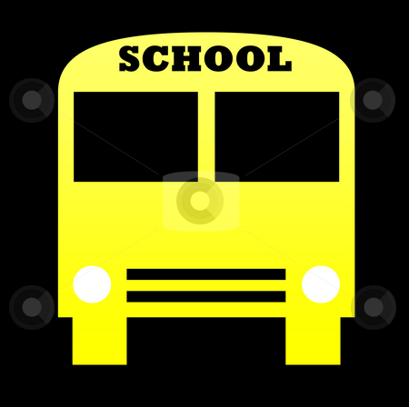 Yellow school bus stock photo, Silhouette of yellow school bus isolated on white background. by Martin Crowdy