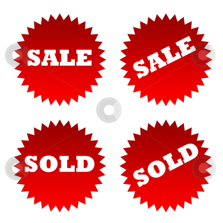 Sale and sold stickers stock photo, Red sale and sold stickers or labels isolated on white background. by Martin Crowdy